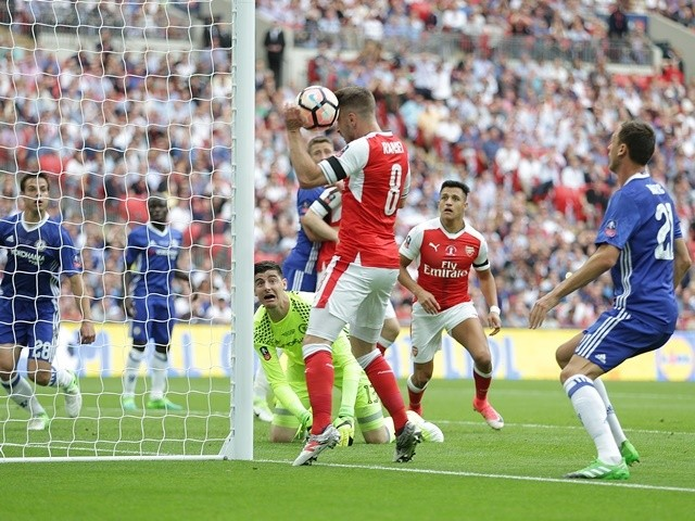 Arsenal's Aaron Ramsey fails to score from close range in the FA Cup final against Chelsea on May 27, 2017