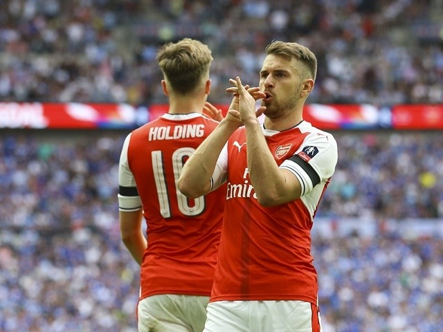Arsenal's Aaron Ramsey celebrates scoring during the FA Cup final against Chelsea on May 27, 2017