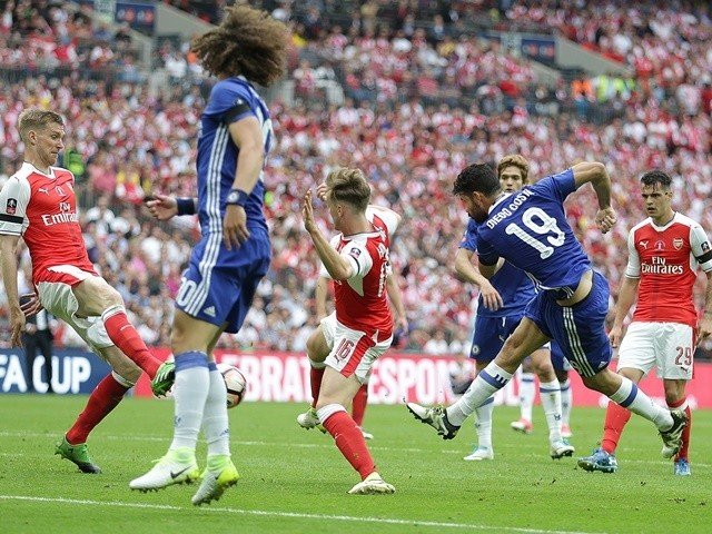 Diego Costa scores to equalise during the FA Cup final between Arsenal and Chelsea on May 27, 2017